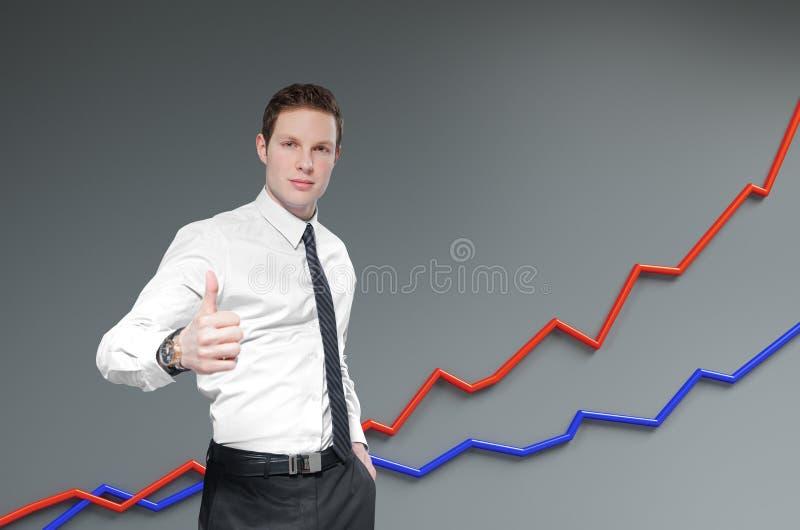 Financieel rapport & statistieken. De zakenman toont duim. stock foto