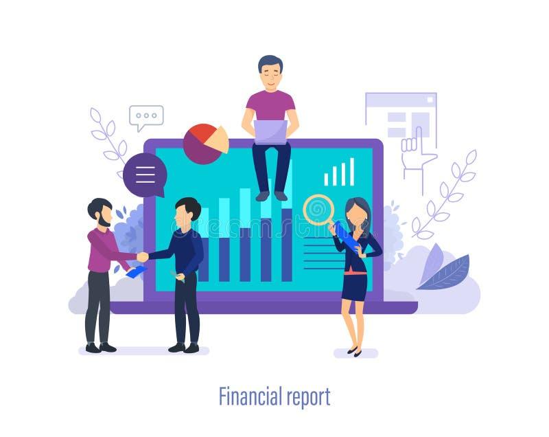 Financieel rapport Analyse van contant geld, bedrijfs planning, boekhouding en controle vector illustratie