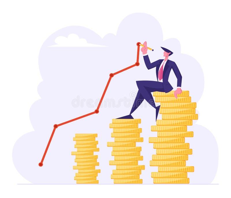Financieel succes, geldverrijking concept, zakenman die op de top van de Golden Coin Stack Trekking Growing Curve Line zit royalty-vrije illustratie