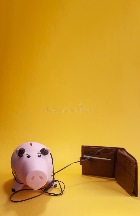 Financieel succesconcept luisterend aan de geldmarkt, luistert het spaarvarken met oortelefoons een portefeuille royalty-vrije stock afbeelding