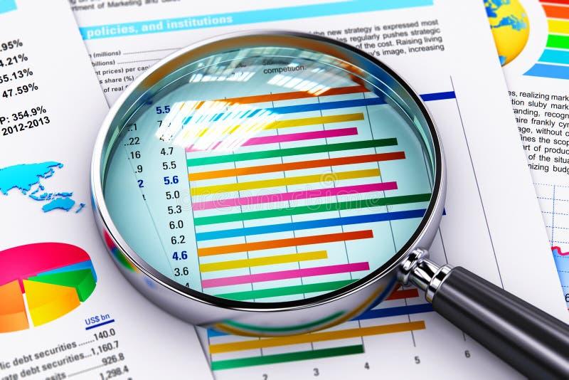 Financieel verslagdocumenten en vergrootglas stock illustratie