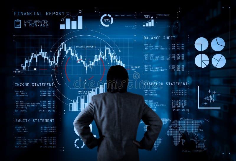 Financieel verslaggegevens van zakelijke bewerkingenbalans en resultatenrekening en diagram royalty-vrije illustratie