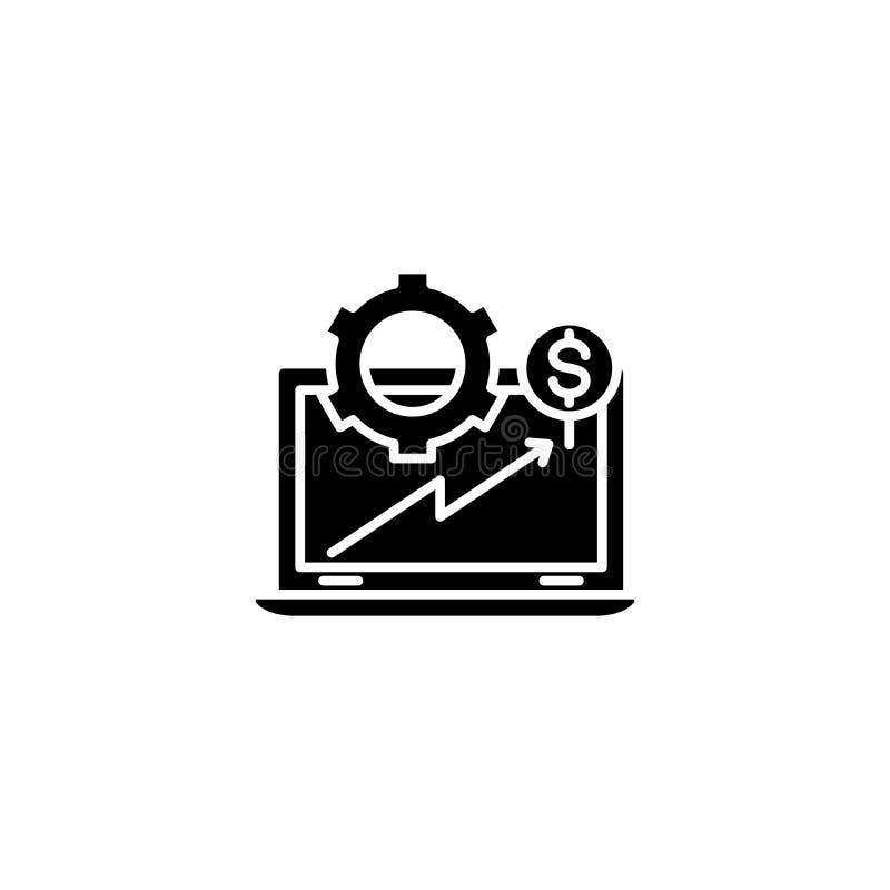 Financieel zwart het pictogramconcept van de computeranalyse Het financiële vlakke vectorsymbool van de computeranalyse, teken, i vector illustratie