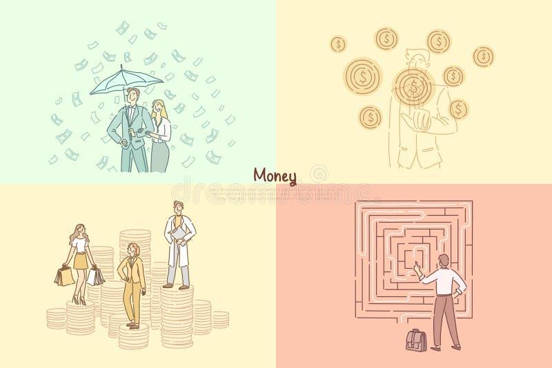 Financier, bankier, het financiële het raadplegen, hulp, handel en handel malplaatje van de winstbanner stock illustratie