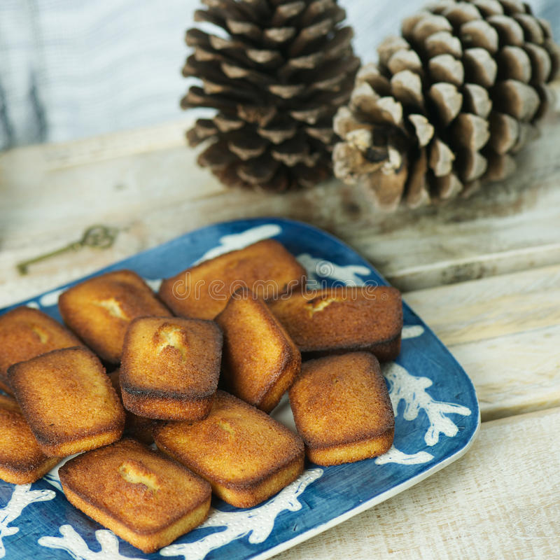 Financiers. Plate of golden financiers (or almond mini cakes) for afternoon snack with pine cones royalty free stock image