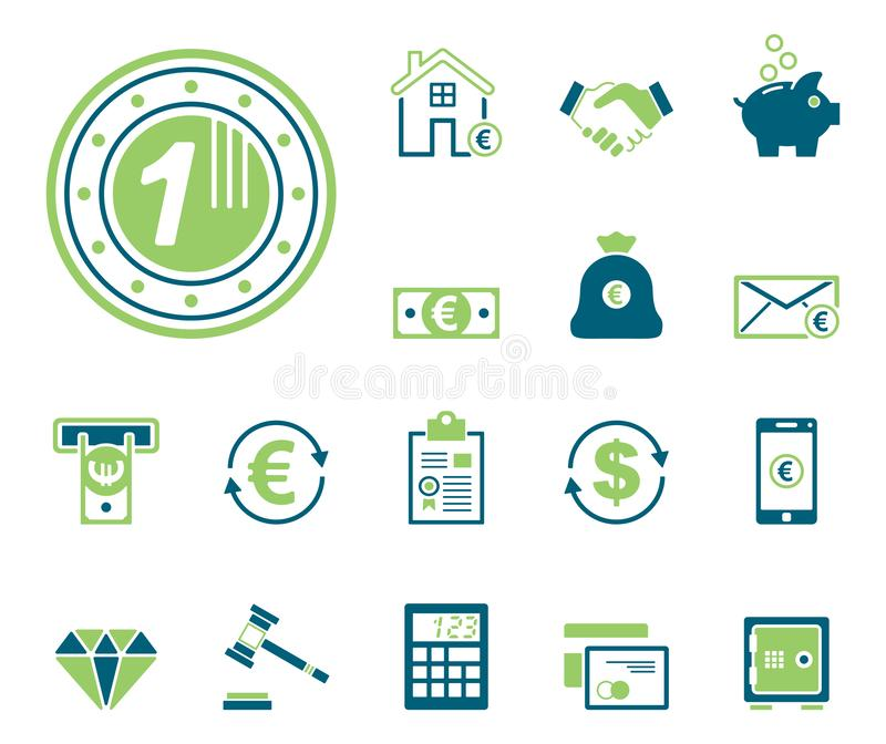 Finans & bank - Iconset - symboler royaltyfri illustrationer