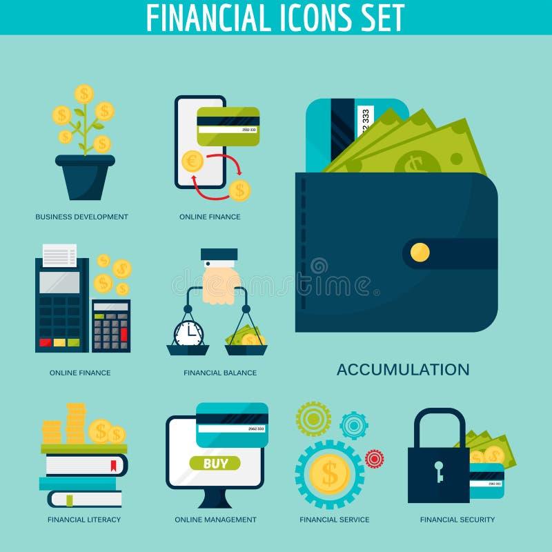 Finans för ledning för investering för bank för ackumulation för fastställd för kreditering för bankrörelsepengarfinansiell rådgi vektor illustrationer