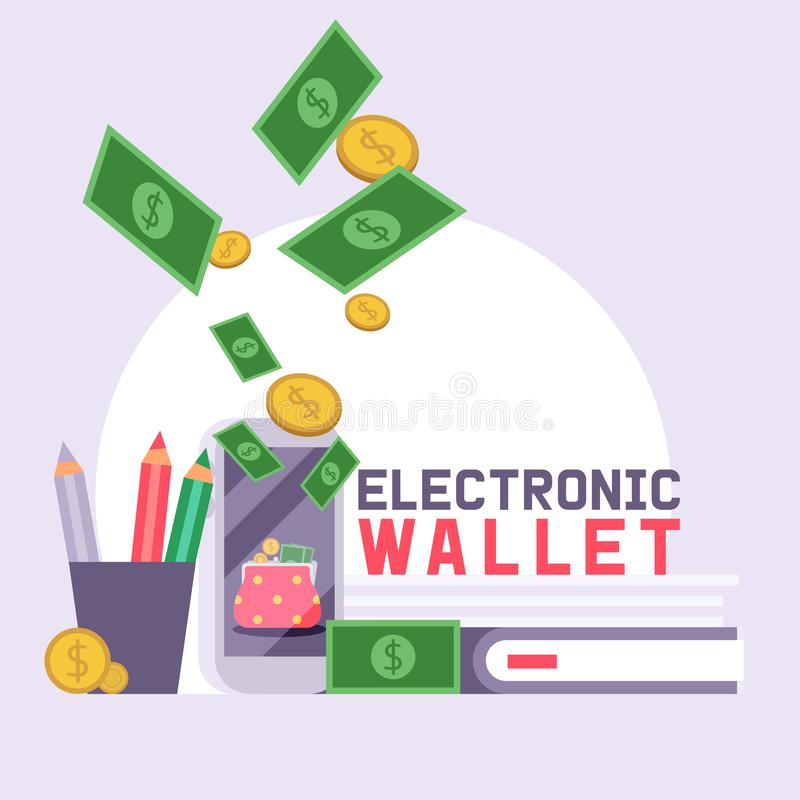 Finans för plånbokvektormodellen piskar handväskaaffärsplånboken med bakgrunden för sedelpengarillustrationen av finansiell vektor illustrationer