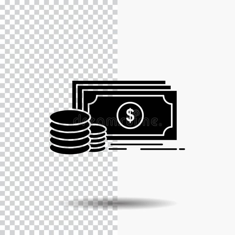 Finans investering, betalning, pengar, dollarskårasymbol på genomskinlig bakgrund Svart symbol stock illustrationer
