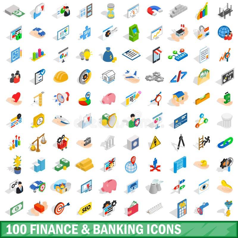 100 finans- och bankrörelsesymboler ställde in, isometrisk stil royaltyfri illustrationer