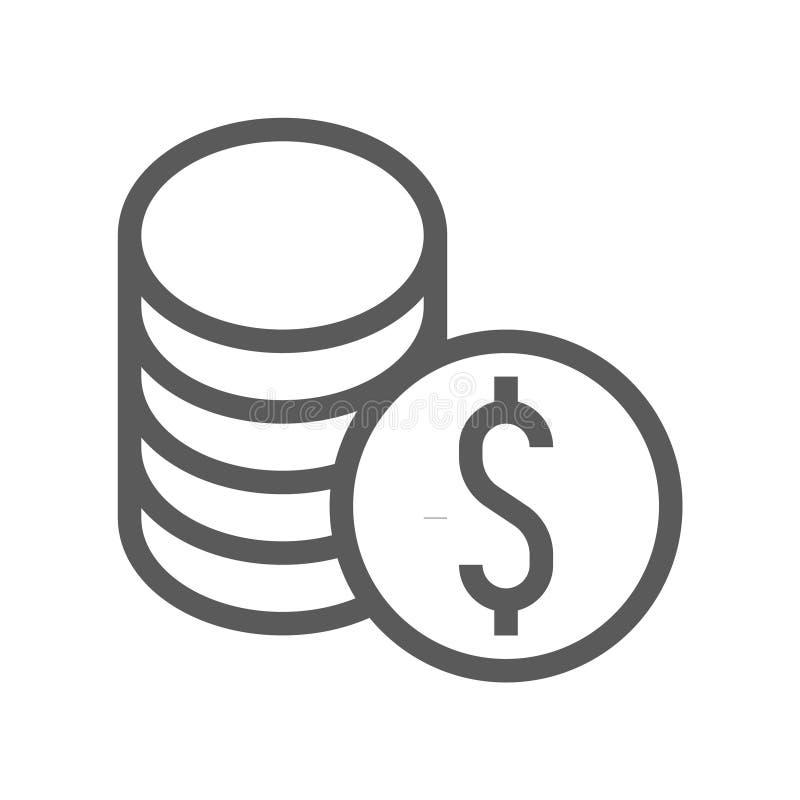 Finans- och bankrörelsevektorlinje symbol royaltyfri illustrationer