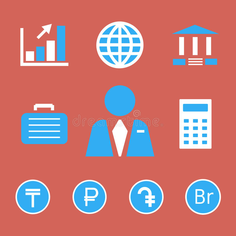 Finans- och banksymboler med valutasymboler royaltyfri illustrationer