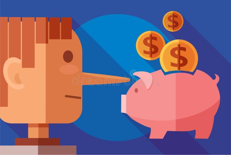 Finans- och bedrägeribegrepp Lögnareman och en spargris vektor illustrationer
