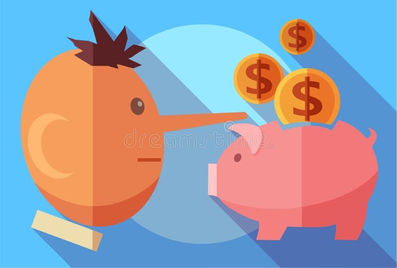 Finans- och bedrägeribegrepp Lögnareman och en spargris stock illustrationer