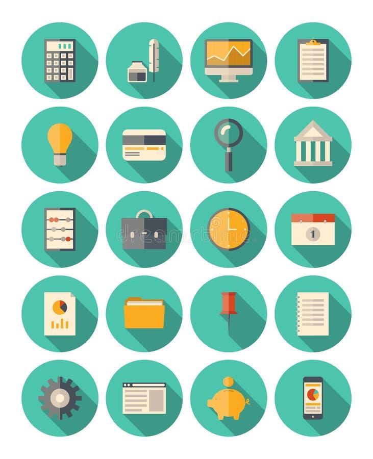 Finans och modern symbolsuppsättning för affär royaltyfri illustrationer