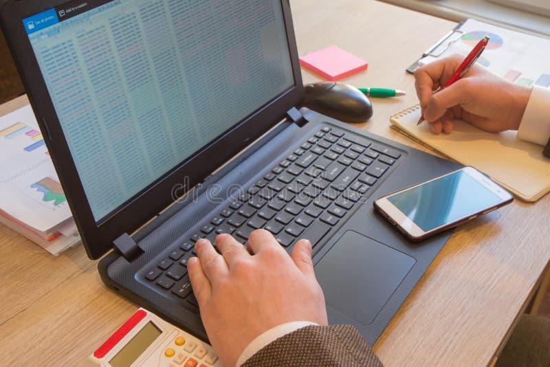 Finans- och redovisningsaffär Businessperson som i regeringsställning arbetar sparande pengar- eller försäkringbegrepp arkivbild