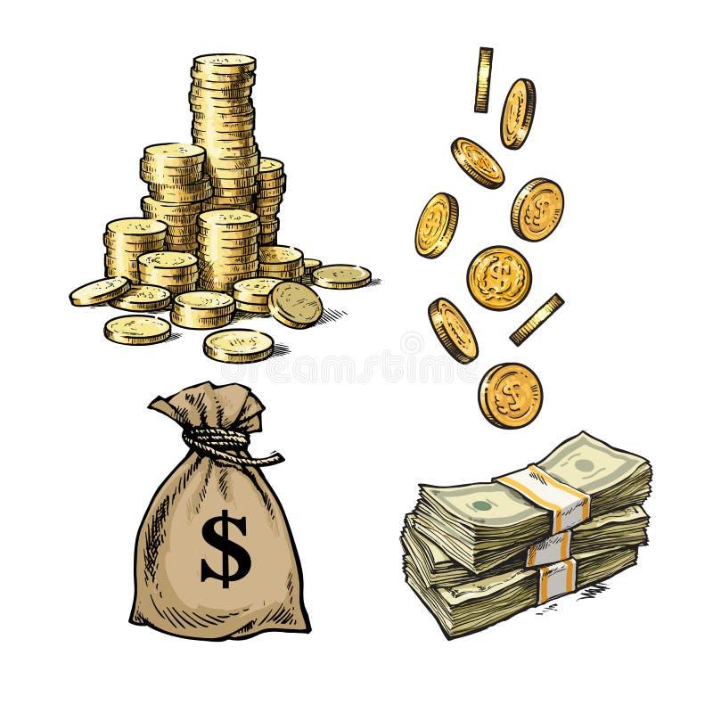 Finans pengaruppsättning Skissa av bunten av mynt, pappers- pengar, säck av fallande guld- mynt för dollar i olika positioner royaltyfri illustrationer