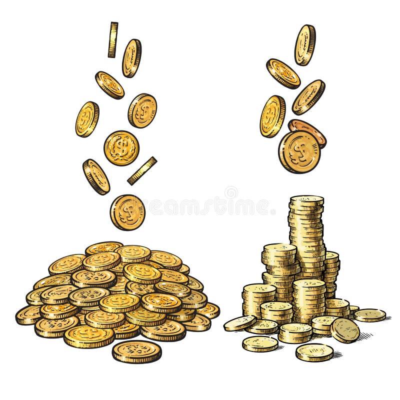 Finans pengaruppsättning Skissa av fallande guld- mynt i olika positioner, hög av kassa, bunt av pengar tecknad handvektor vektor illustrationer