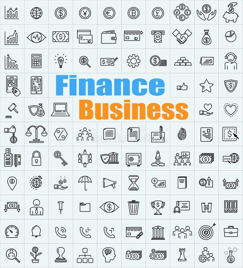 100 finansaffärssymboler ställde in för en variation av applikationer arkivbild