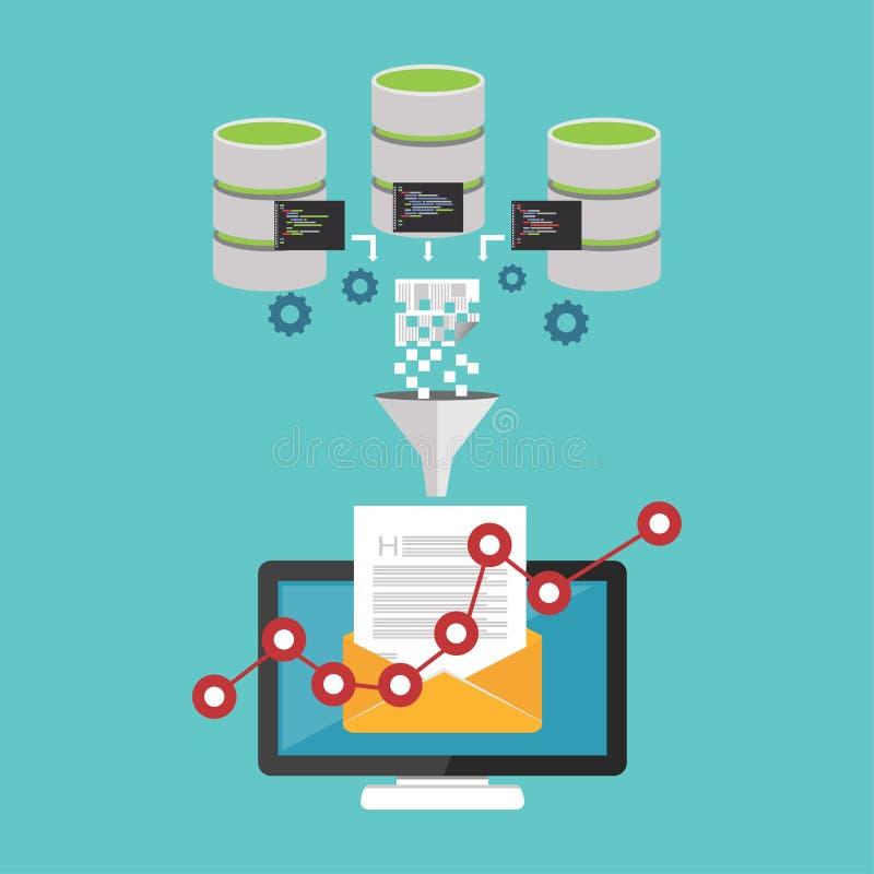 Finansanalysering Emailbefordran Data som bryter begrepp stock illustrationer