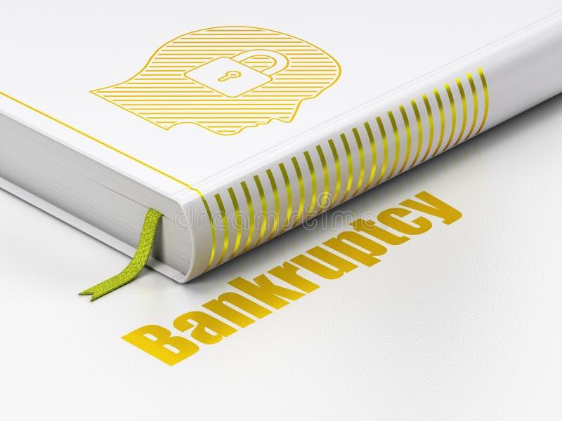 Finansbegrepp: boka huvudet med hänglåset, konkurs på vit bakgrund vektor illustrationer