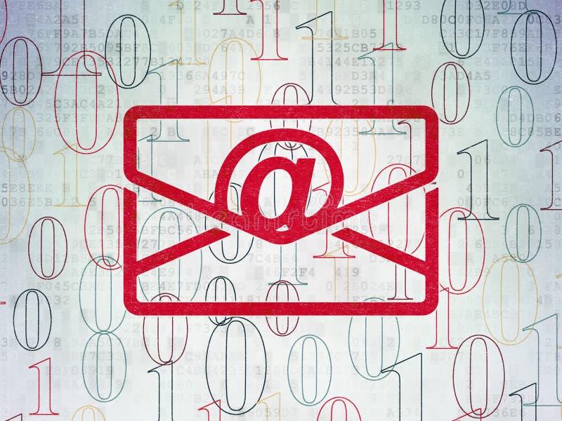 Finansbegrepp: Email på pappersbakgrund för Digitala data stock illustrationer