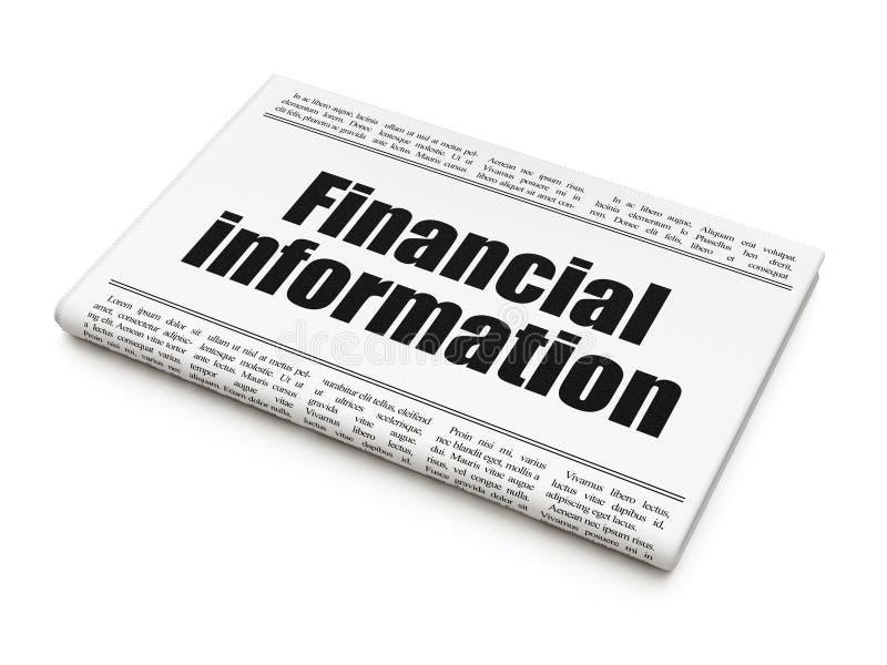 Finansbegrepp: finansiell information om tidningsrubrik stock illustrationer