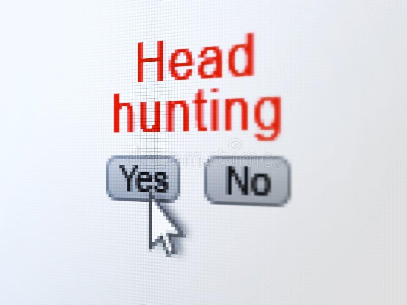 Finansbegrepp: Headhunting på den digitala datoren royaltyfri illustrationer