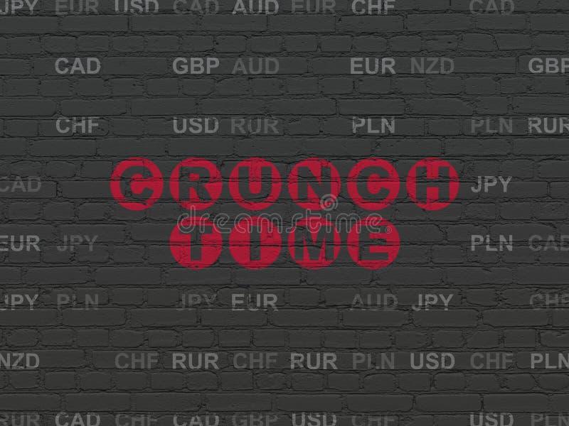 Finansbegrepp: Knastrande Tid på väggbakgrund stock illustrationer