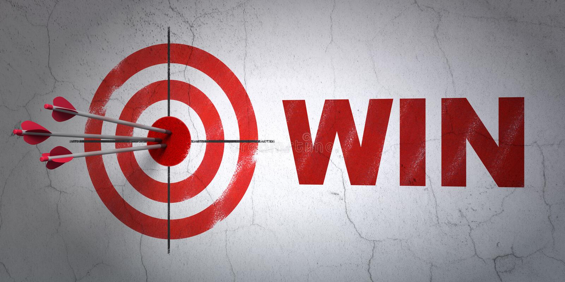 Finansbegrepp: mål och seger på väggbakgrund stock illustrationer