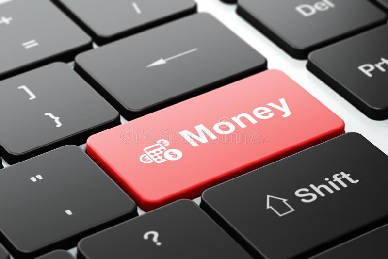 Finansbegrepp: Räknemaskin och pengar på bakgrund för datortangentbord royaltyfria foton