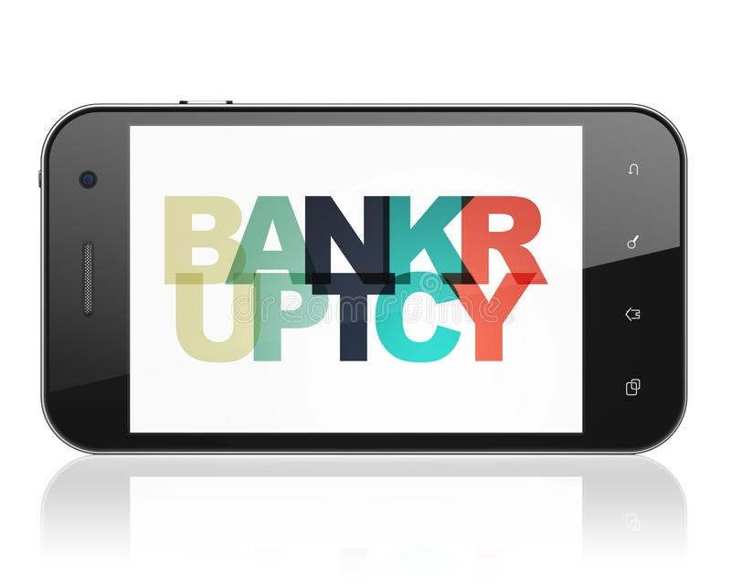 Finansbegrepp: Smartphone med konkurs på skärm royaltyfri illustrationer