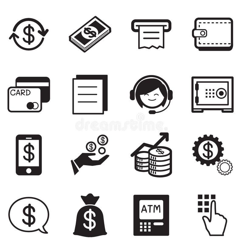 Finanse & bankowości ikony, kredytowa karta, atm ilustraci wektor royalty ilustracja