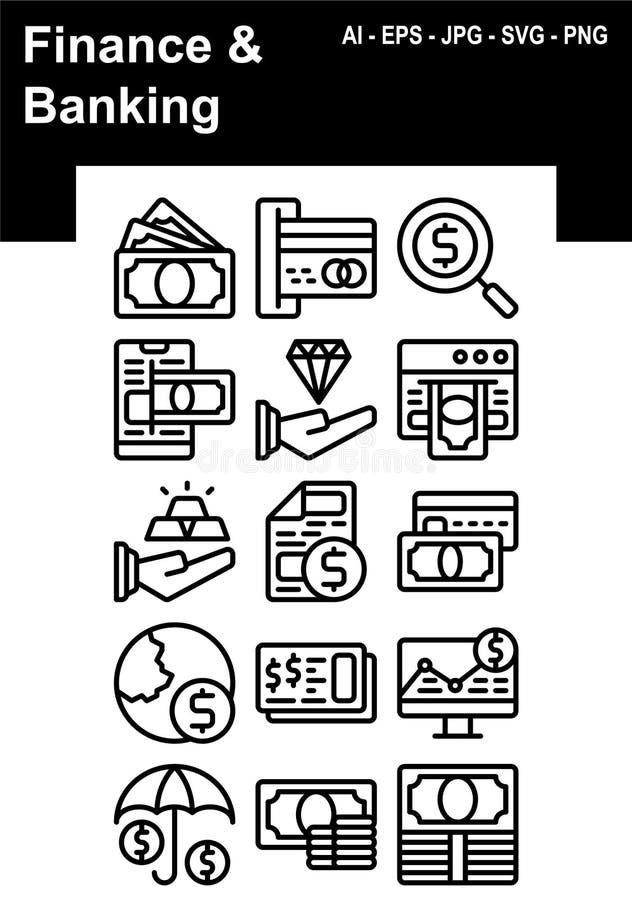 Finanse & bankowości ikony set royalty ilustracja