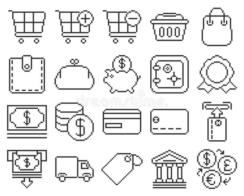 Finanse i bankowość piksla kreskowe ikony ustawiać ilustracja wektor