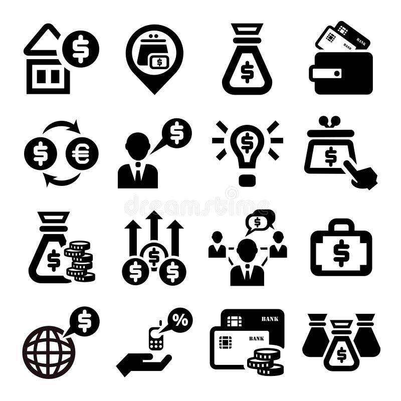 Finanse i pieniądze ikony ustawiać ilustracji