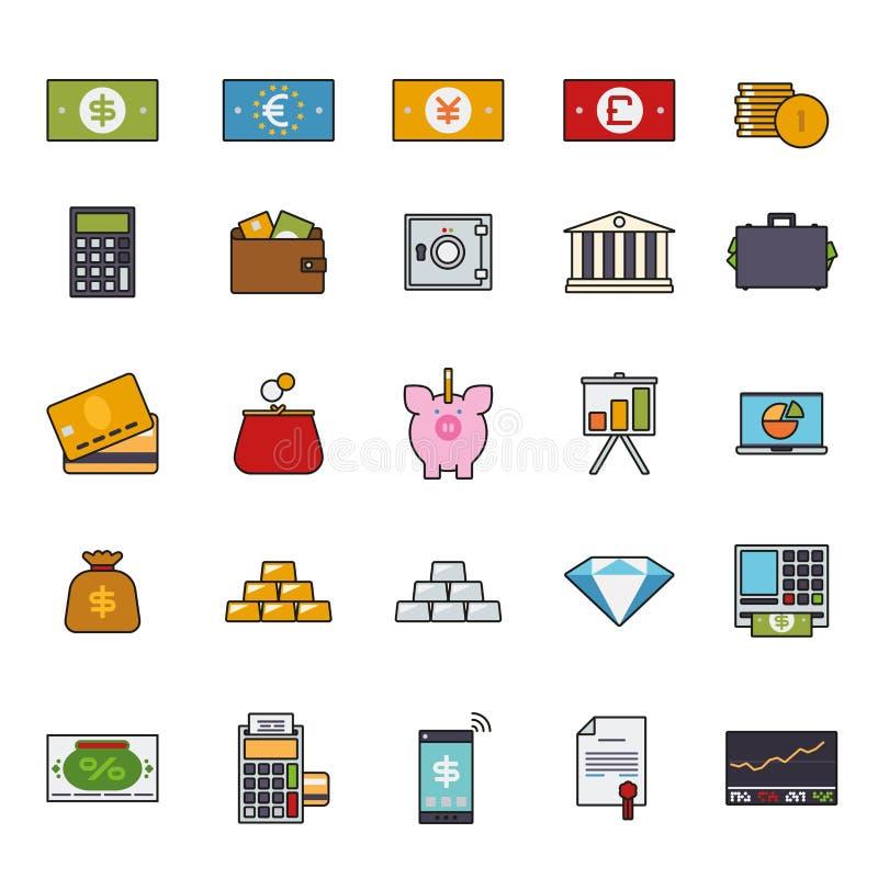 Finanse i pieniądze wypełniający kreskowy ikona wektoru set ilustracja wektor