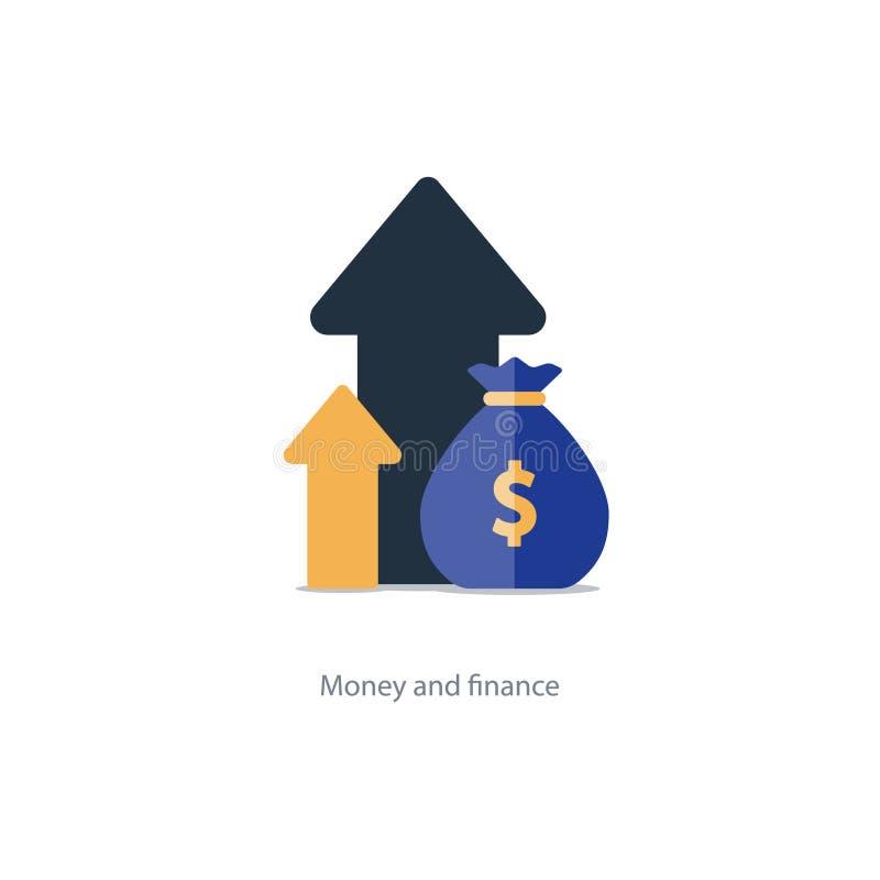Finanse i zarządzanie inwestycyjne, budżeta planowanie, dwuczłonowy interes, dochód royalty ilustracja