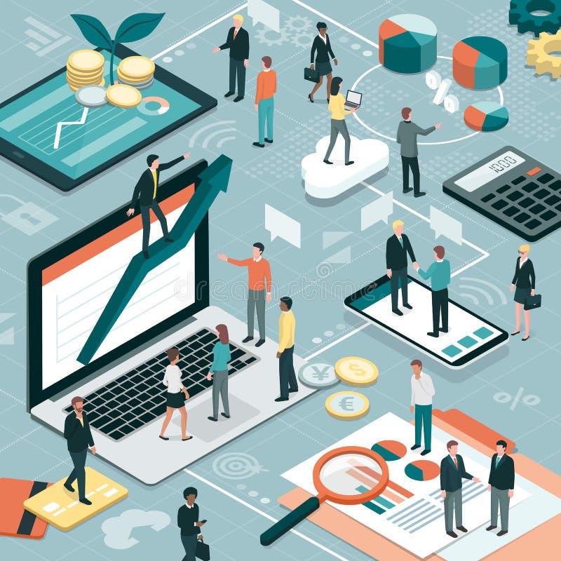 Finanse i zarządzanie przedsiębiorstwem ilustracja wektor
