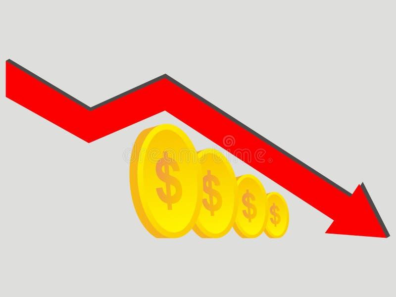 Finanse obniżający Abstrakcjonistyczny wykres z złocistymi monetami royalty ilustracja
