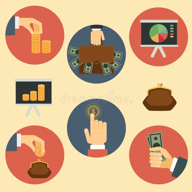 Finanse, pieniądze i analityka ilustracje, ilustracja wektor