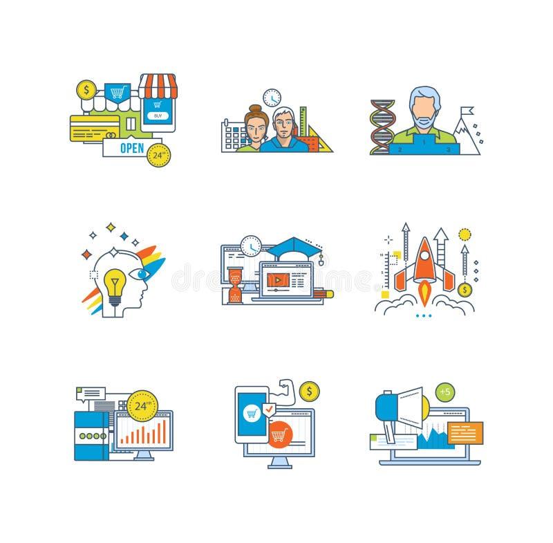 Finanse, praca zespołowa, edukacja, badanie, twórczość, zaczyna up, wprowadzać na rynek, zarządzanie, komunikacje royalty ilustracja