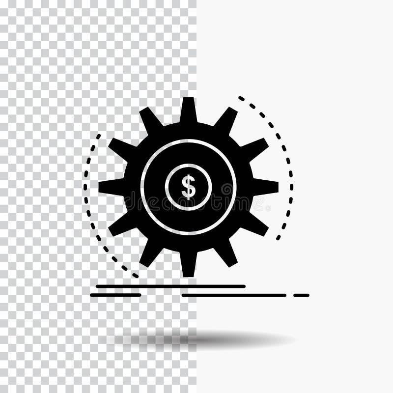 Finanse, przepływ, dochód, robi, pieniądze glifu ikona na Przejrzystym tle Czarna ikona ilustracja wektor