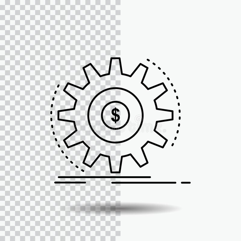 Finanse, przep?yw, doch?d, robi, pieni?dze Kreskowa ikona na Przejrzystym tle Czarna ikona wektoru ilustracja ilustracji