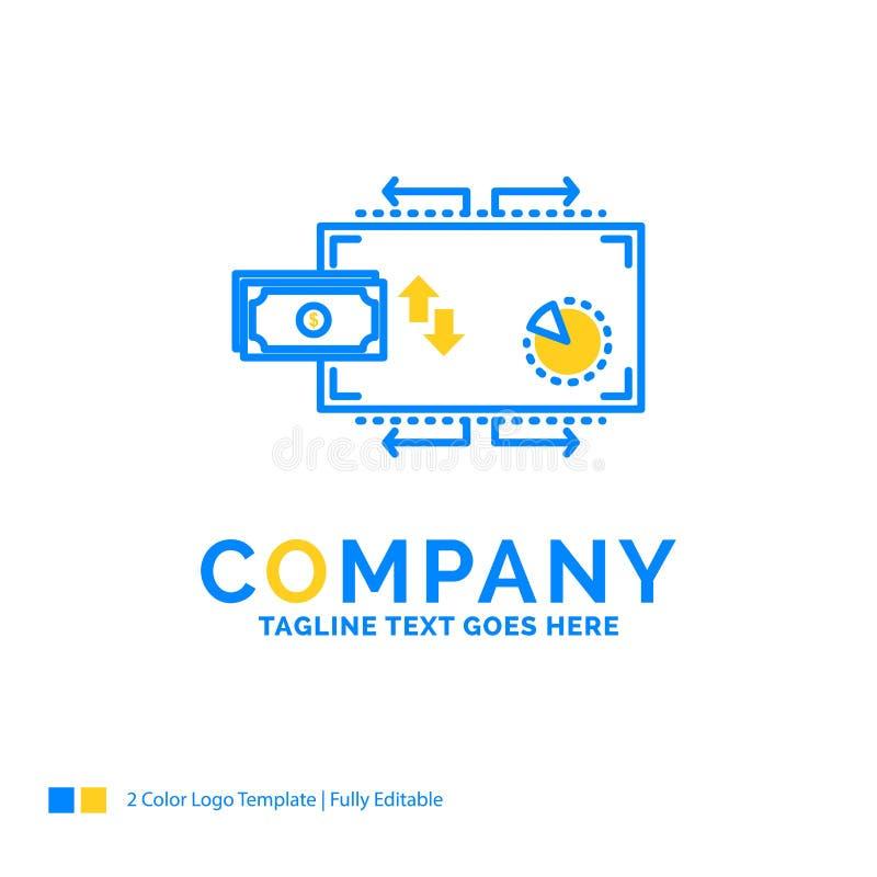 Finanse, przepływ, marketing, pieniądze, zapłata Błękitny Żółty biznes L royalty ilustracja