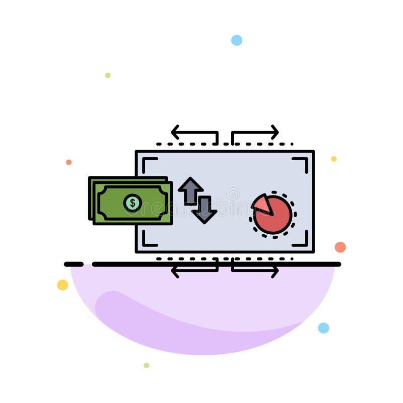 Finanse, przepływ, marketing, pieniądze, zapłata koloru ikony Płaski wektor ilustracja wektor