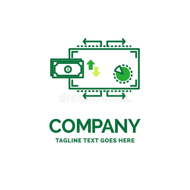 Finanse, przepływ, marketing, pieniądze, zapłata logo Płaski Biznesowy tem royalty ilustracja
