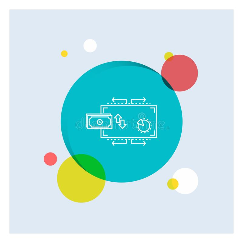 Finanse, przepływ, marketing, pieniądze, zapłaty Białej linii ikony okręgu kolorowy tło ilustracja wektor