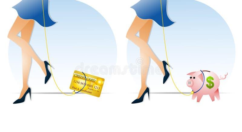 finanser som håller koppelet stock illustrationer