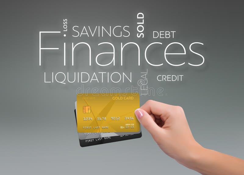 Finanser tre kreditkortar på grå färger royaltyfri bild